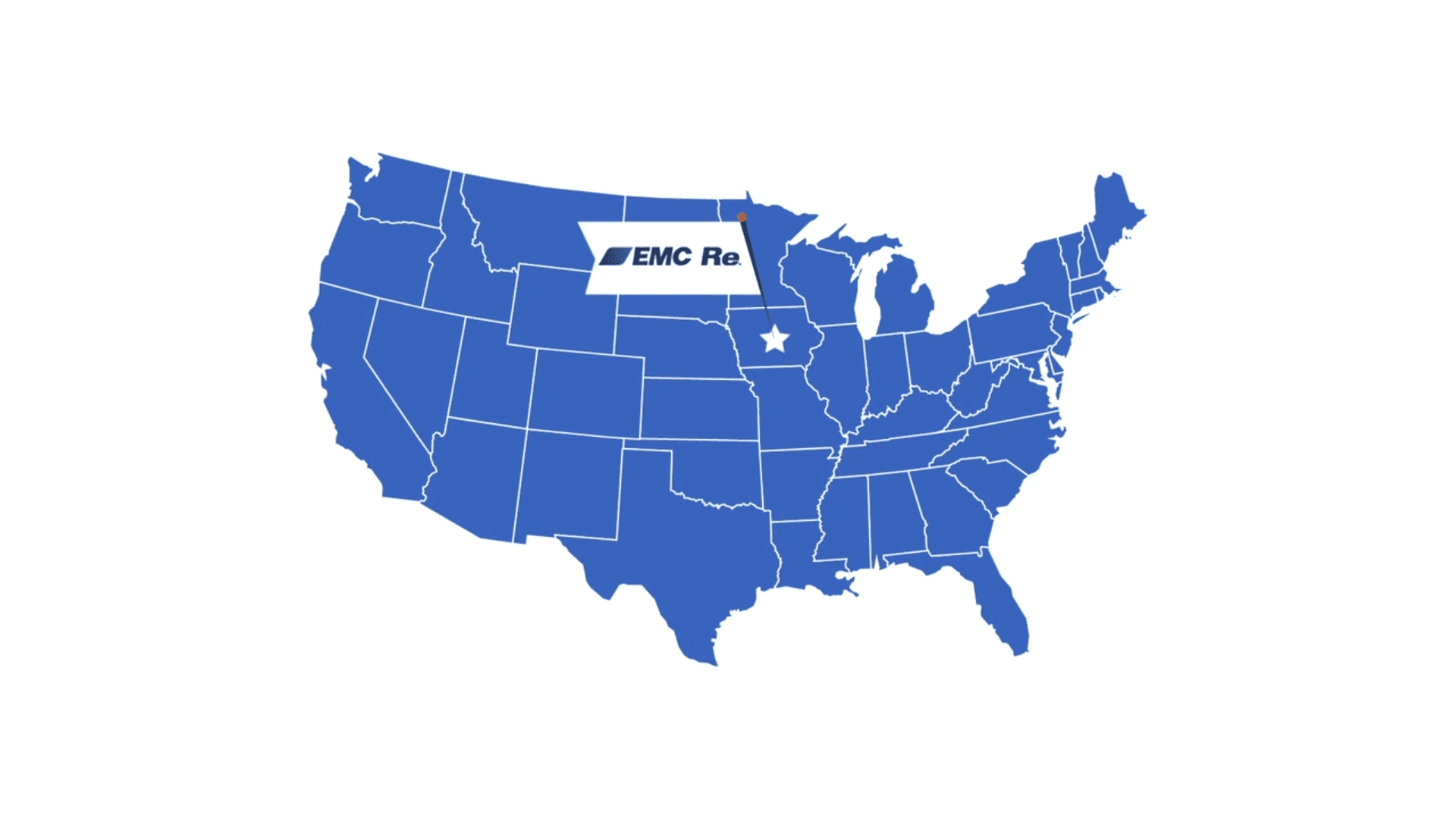 Map of USA with EMC Re home office marked with a Star