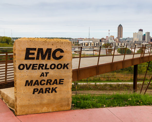The EMC Overlook at MacRae Park provides stunning views of the Des Moines skyline and Capital