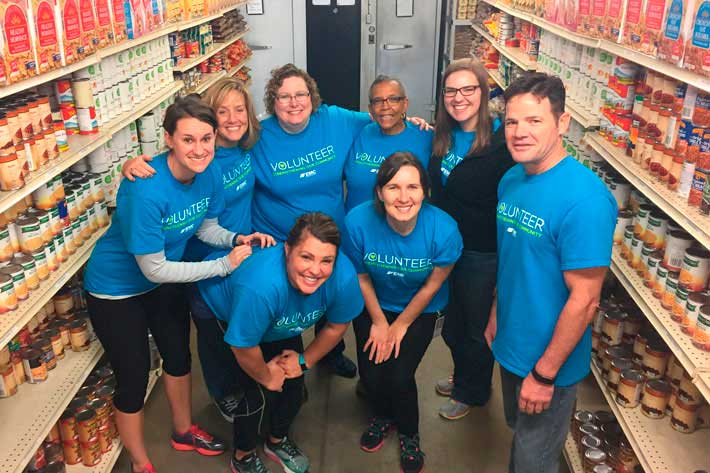 EMC Employees in a food bank on a volunteer day