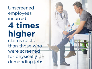 Unscreened employees incurred 4 times higher claims costs than the alternative