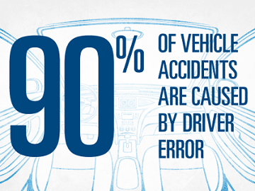 90% of vehicle accidents are caused by diver error