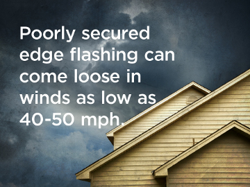 Poorly secured edge flashing can come loose in winds as low as 40 mph