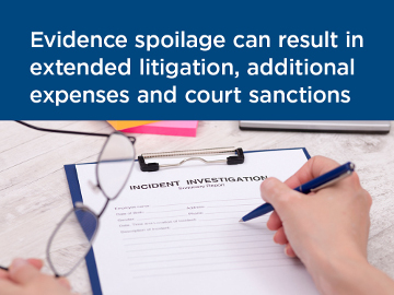 Evidence spoilage can result in extended litigation, additional expenses, and court sanctions