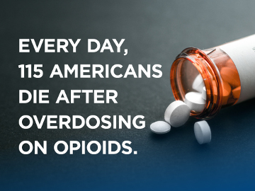 Every day 115 American die from overdosing on opioids