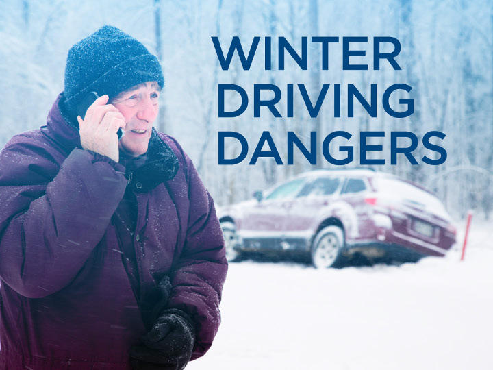 Man on the phone next to a car that slipped of the road into snow. Text says Winter Driving Dangers.