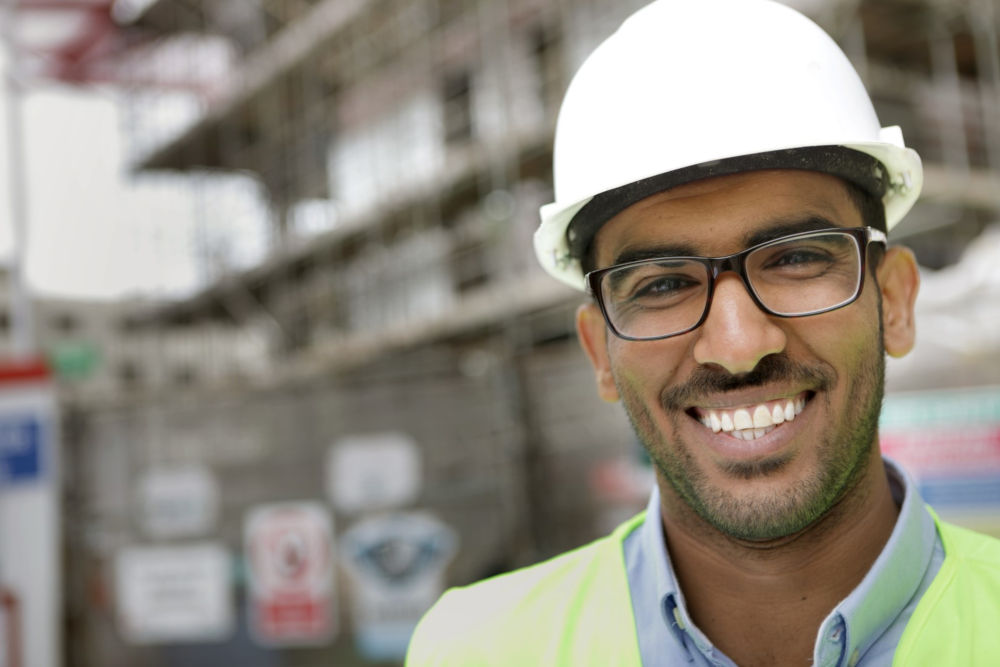 Man wearing hard hat