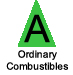 Letter A in green triangle labeled ordinary combustibles