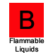 Letter B in red square labeled ordinary combustibles