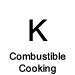 Black letter K labeled combustible cooking