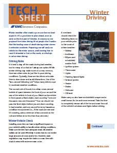 winter driving tech sheet