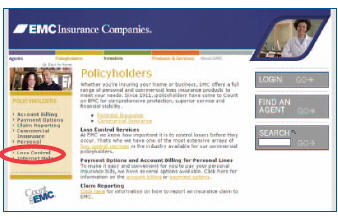 Policyholder page: left menu with Loss Control Circled